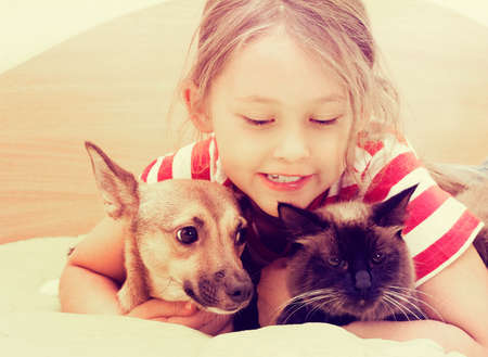 child and dog and cat Stock Photo