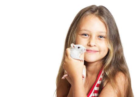 beautiful little girl holding a pet rat photo