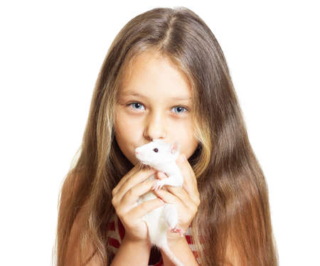 domestic animals: kid holding a pet rat Stock Photo