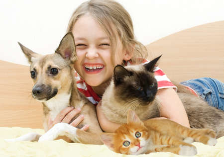 mirth: laughing girl and pets