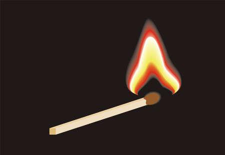 caja de cerillas: Burning vector de partido sobre fondo negro Vectores