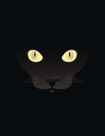 Black cat vector on black backround Stock Vector - 13502616