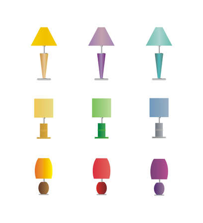 Assorted lamps on white backgrond Vector