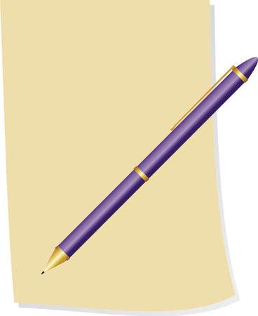 ballpoint pen: Vector pen and paper Illustration