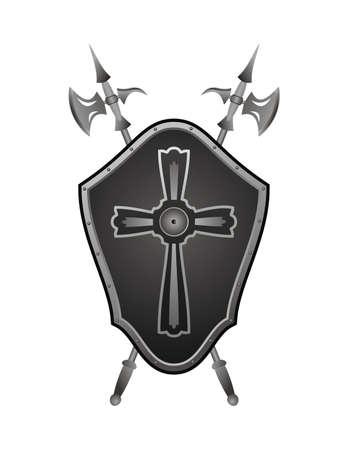 croix de fer: Bouclier historique avec des axes recueillies dans un panneau sur un mur Illustration