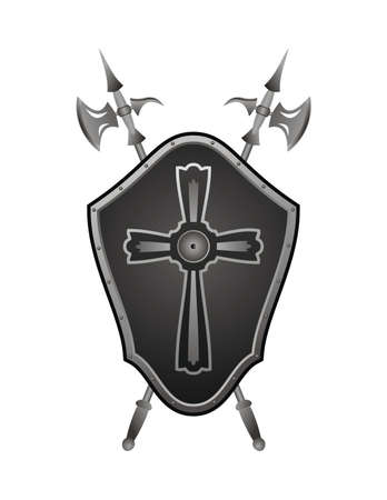 iron cross: Historical shield with axes collected in a panel on a wall