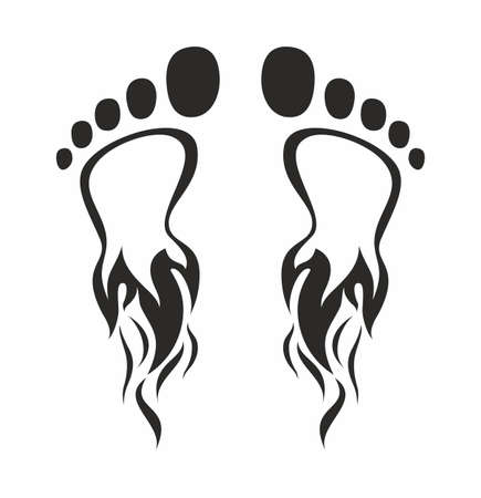 and barefoot: Two foot prints in the form of fire on a white background Illustration