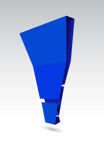 Vector illustration of blue exclamation mark, origami style