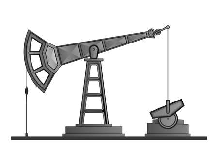 Oil pump pumpjack isolated on white background.