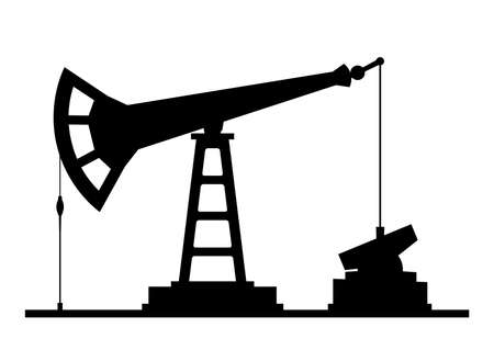 oilwell: Oil pump pumpjack silhouette isolated on white background.