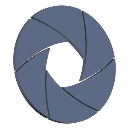 shutter aperture: 3D camera shutter isolated on white background