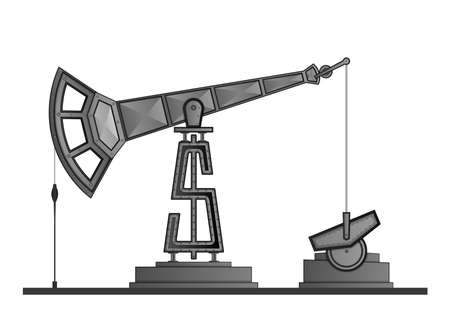 crude: Oil pump pump-jack isolated on white background, with dollar symbol instead of tower.