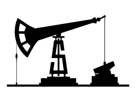 reservoir: Oil pump pump-jack silhouette isolated on white background, with dollar symbol instead of tower.