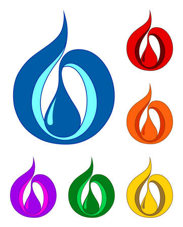 natural gas: Set of a drop symbols  EPS-10   no gradient, no transparent elements   Vector illustration