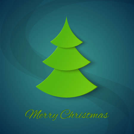 Christmas tree on blue textured background Vector