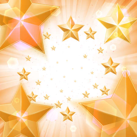 Abstract light background with gold stars Vector