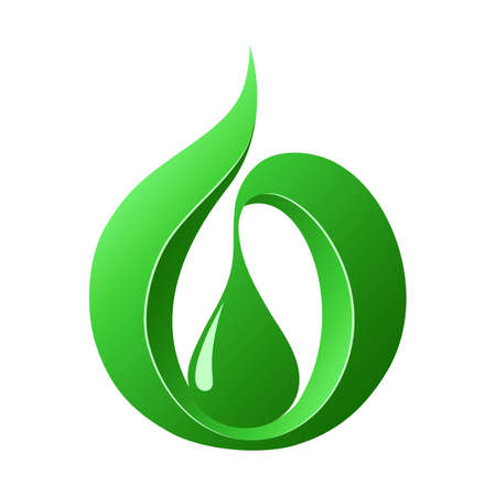 Abstract green drop, icon template  Prototype Illustration