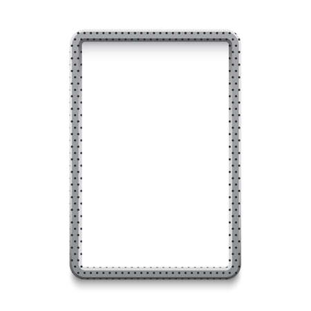 Metal aluminium banner with small holes Vector