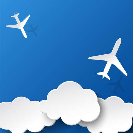 Paper planes and clouds Background for holidays