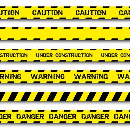 Conjunto de cintas de advertencia aislados en el fondo blanco