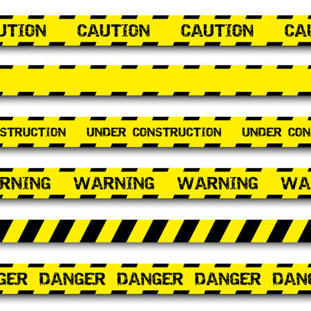 Set of warning tapes isolated on white background Ilustração