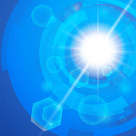 Bright blue background  Sun burst with lens flare Vector