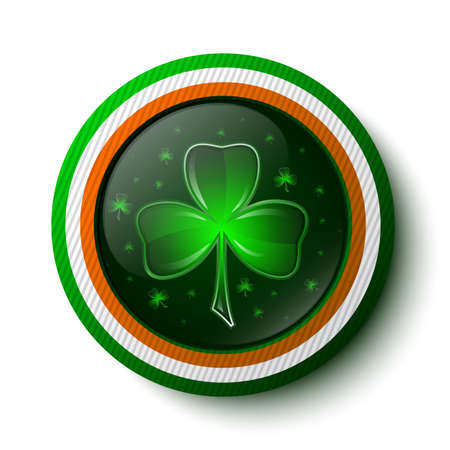 Button with shamrock inside and Irish flag outside  Vector illustration Vector