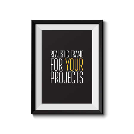 Realistic picture frame isolated on white background  Perfect for your presentations  Vector illustration