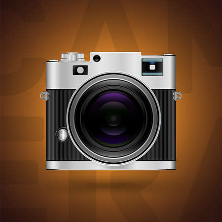 old photograph: Classic camera icon on brown background  Vector illustration