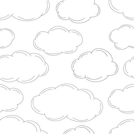 Sketched clouds, seamless pattern  Vector illustration Vector