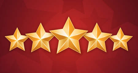 Five gold stars isolated on red background Illustration