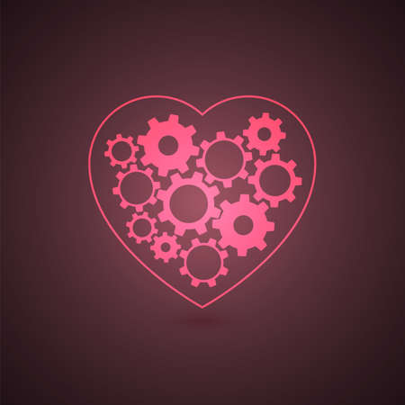 Glowing heart with gears inside  Vector illustration Illustration