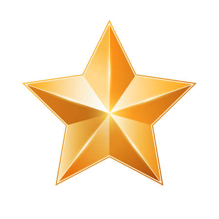 Gold star isolated on white Design element, illustration Illustration