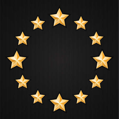 Gold stars on black textured background  Design elements  Vector illustration Vector