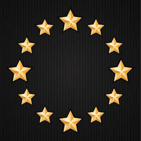 Gold stars on black textured background  Design elements  Vector illustration Vector