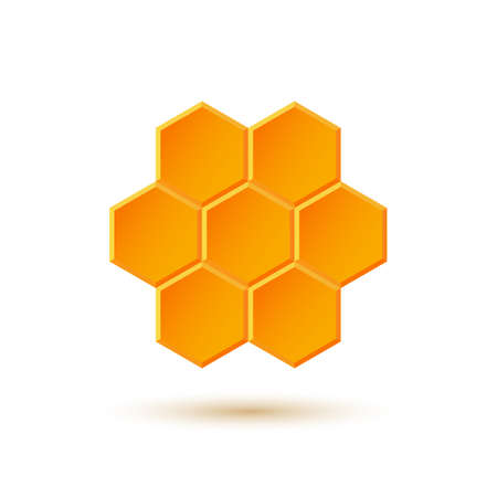 comb: Icon with honeycombs  Vector illustration
