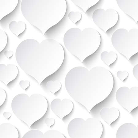 unending: Paper heart seamless pattern with drop shadows  Vector illustration