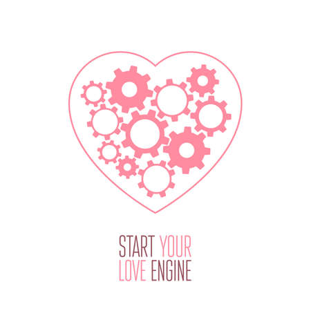 Heart with gears inside  Vector illustration Vector