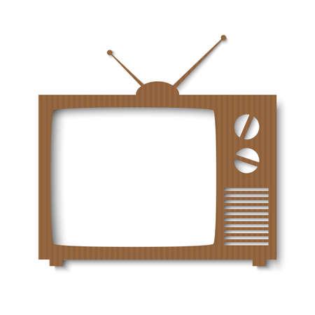 vintage television: Brown paper banner in form of vintage tv  Vector illustration for your design or business presentations Illustration