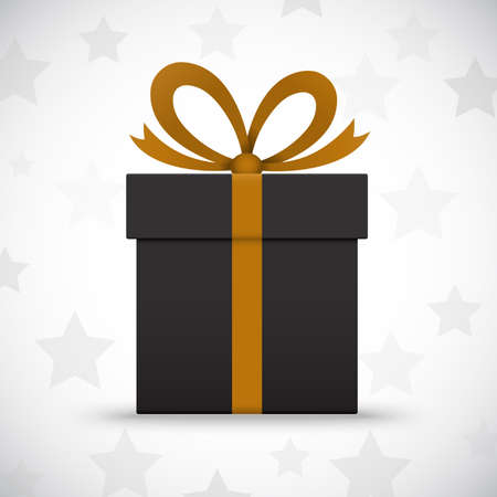 wrapped present: Black gift box on white background with stars  Vector illustration Illustration