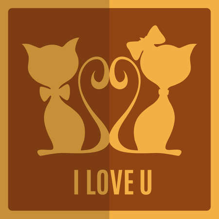 Greeting card with two cats  Vector illustration