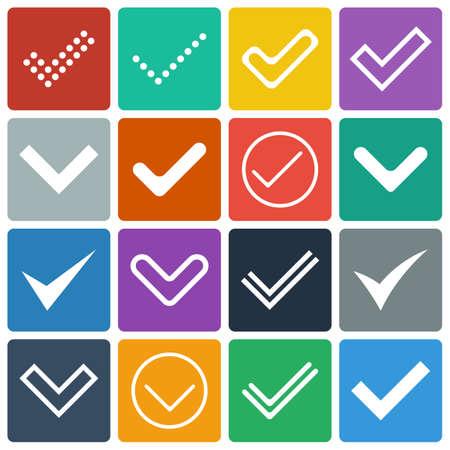 garrapata: Set de iconos, señales, marcas de verificación de diseño Flat Vectores