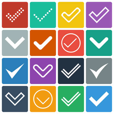 Set of icons, ticks, check marks  Flat design Illustration