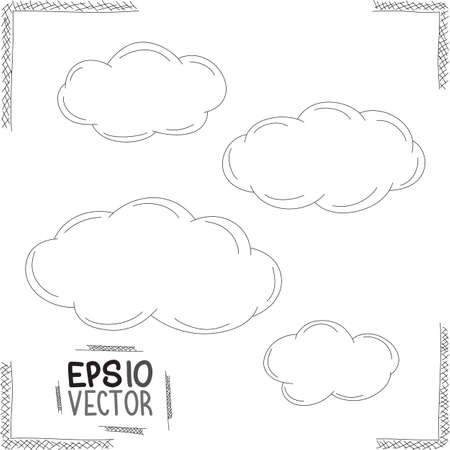 pencil drawn: Set of doodle clouds  Illustration