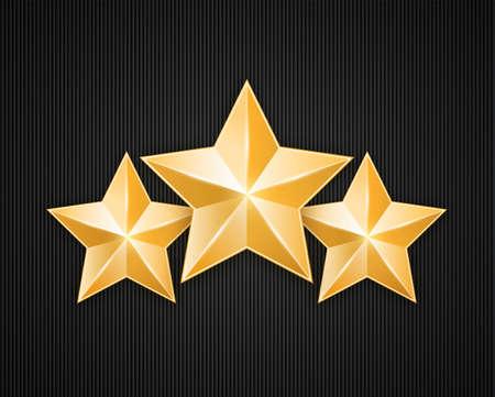 Three golden star on black textured background  Design elements  Vector