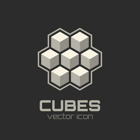 abstract cubes: Abstract icon with 3d cubes  Vector illustration