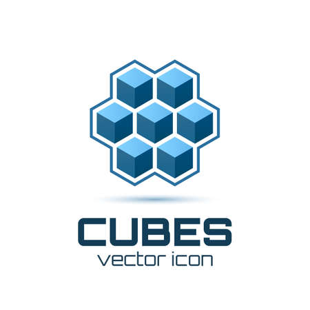 tehnology: Abstract icon with 3d cubes  Vector illustration