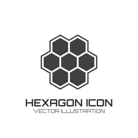 Honey comb: Hexagon icon isolated on white background  Vector illustration
