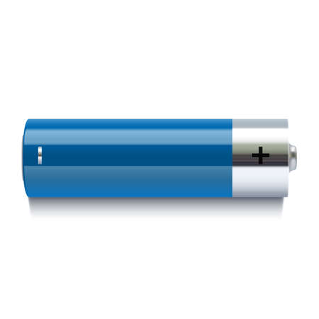 Realistic blue battery icon  Vector illustration