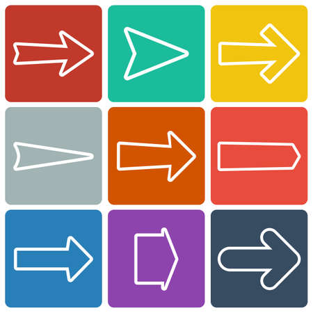 Set of colorful flat arrows  Vector illustration Vector